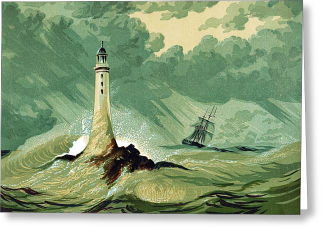 Storm Drawings Greeting Cards -  Eddystone lighthous Greeting Card by English School