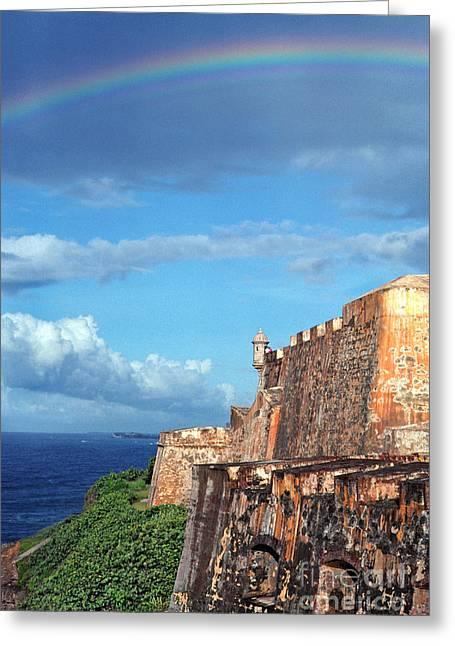 Puerto Rico Greeting Cards -  El Morro Fortress Rainbow Greeting Card by Thomas R Fletcher