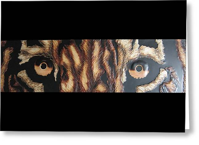 The Tiger Greeting Cards - Marquetry Wood The Eye Of Tiger Greeting Card by Hesam A M