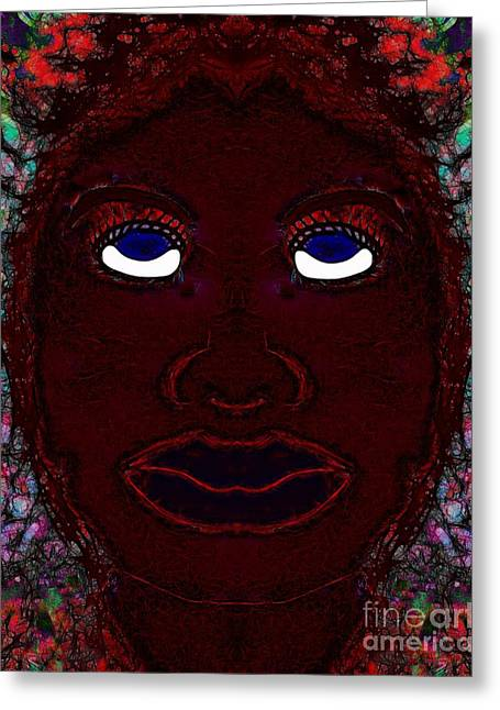 Abstractions Greeting Cards -  Face Abstraction 54 Greeting Card by Devalyn Marshall