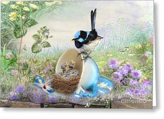 Tea Party Greeting Cards -  Feed Time Greeting Card by Trudi Simmonds