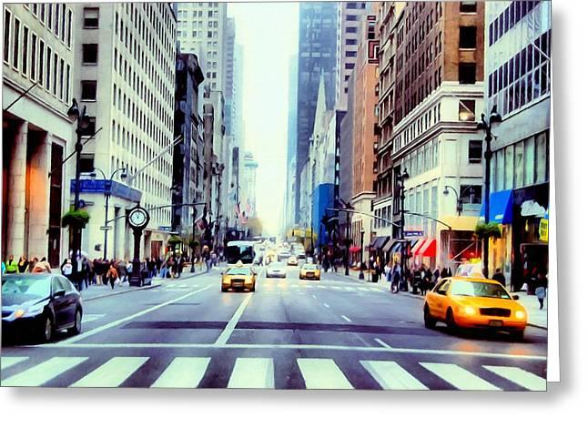 Best Sellers -  - Crosswalk Greeting Cards -  Fifth Avenue in Manhattan  Greeting Card by Lanjee Chee
