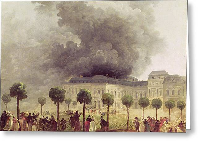 Fire At The Opera House Of The Palais Royal Greeting Card by Hubert Robert