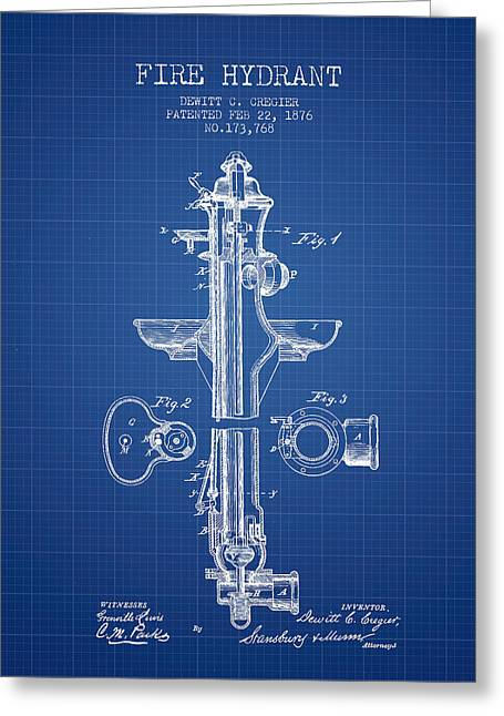Fire Hydrants Greeting Cards -  Fire Hydrant Patent from 1876 - Blueprint Greeting Card by Aged Pixel