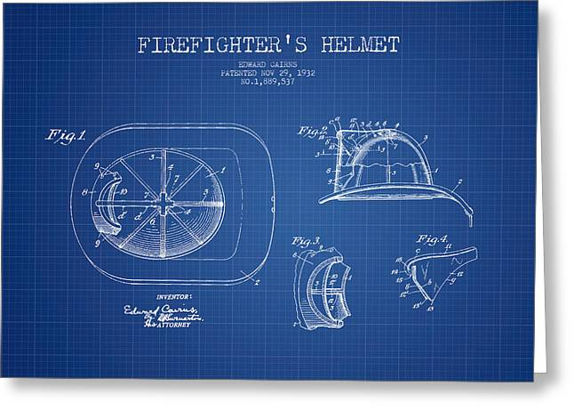 Firefighter Greeting Cards -  Firefighter Helmet Patent drawing from 1932 - Blueprint Greeting Card by Aged Pixel