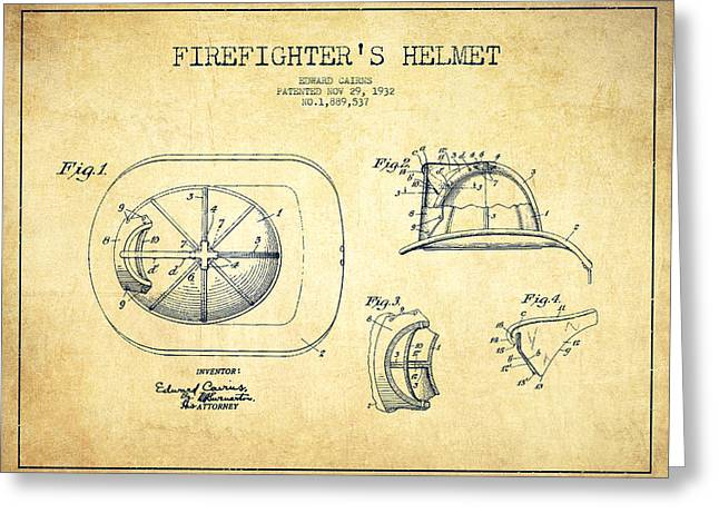 Firefighter Greeting Cards -  Firefighter Helmet Patent drawing from 1932 - Vintage Greeting Card by Aged Pixel