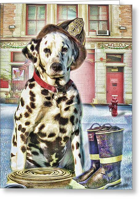 Firemans Friend Greeting Card by Trudi Simmonds