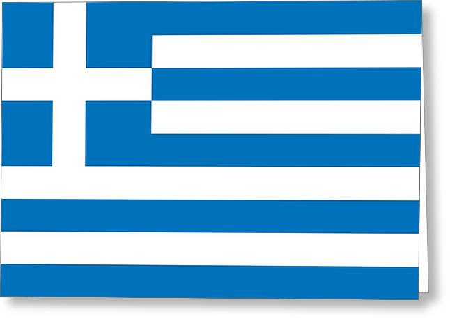 National Drawings Greeting Cards -  Flag of Greece Greeting Card by Unknown