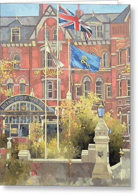 Art Of Building Greeting Cards -  Flags outside the Prince of Wales Greeting Card by Peter Miller