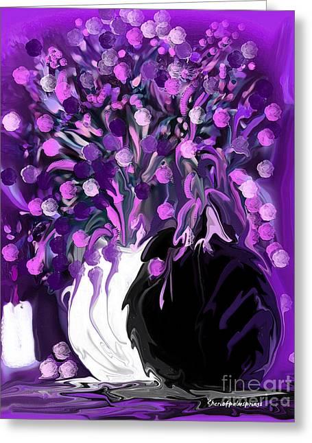Sherri Painting Greeting Card featuring the digital art  Flower Art Love Purple Flowers  Love Pink Flowers by Sherri Of Palm Springs