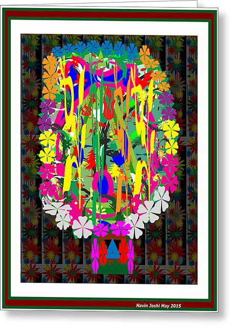 Flower Bouquet  Colorful Abstract Art For Interior Decoration  By Navinjoshi Greeting Card by Navin Joshi