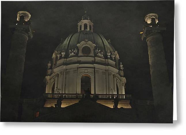 Ghostly Greeting Cards -  Fog over Dome of Karlskirche Greeting Card by Svetlana Neskovska