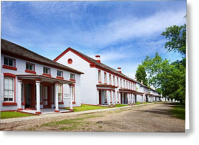 Prairie Heritage Site Greeting Cards -  Fort Totten North Dakota Officers Row Greeting Card by Donald  Erickson