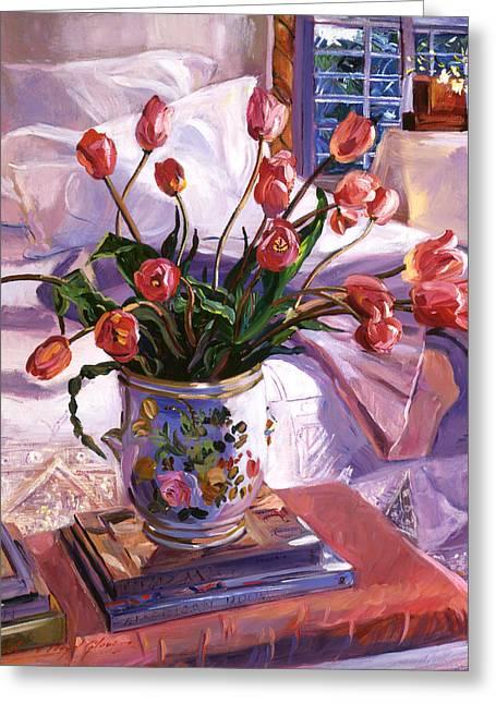 Fresh Tulips Greeting Card by David Lloyd Glover