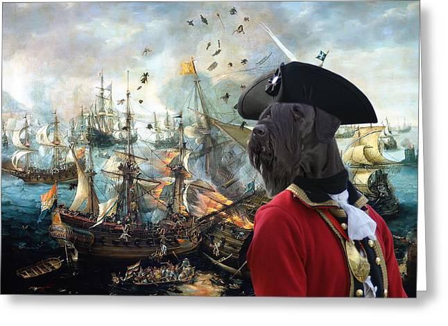 Giant Schnauzer Greeting Cards -  Giant Schnauzer Art Canvas Print - Battle of Gibraltar  Greeting Card by Sandra Sij