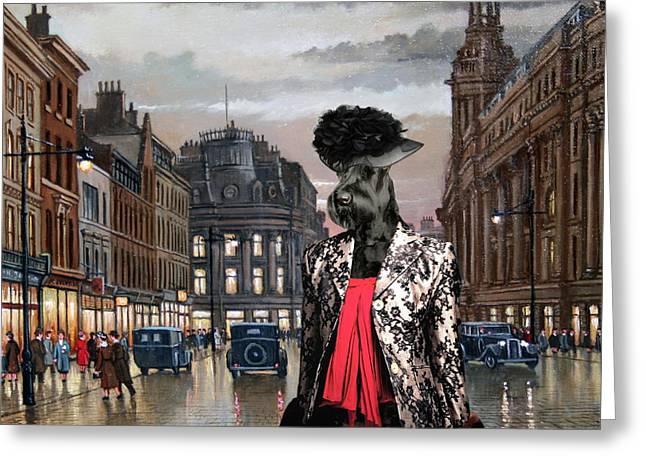Giant Schnauzer Greeting Cards -  Giant Schnauzer Art Canvas Print - Charleston Blues Greeting Card by Sandra Sij