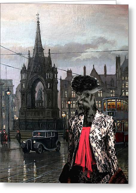 Giant Schnauzer Greeting Cards -  Giant Schnauzer Art Canvas Print - Waiting for the lover Greeting Card by Sandra Sij