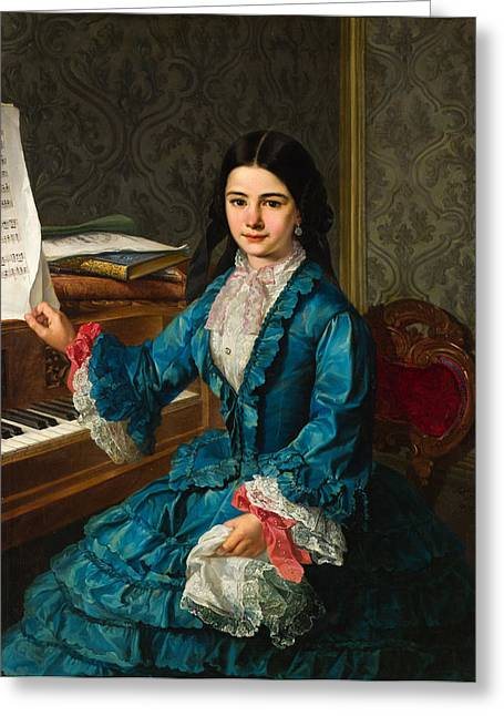Gomez Greeting Cards -  Girl At The Piano Greeting Card by Antonio Gomez Cros