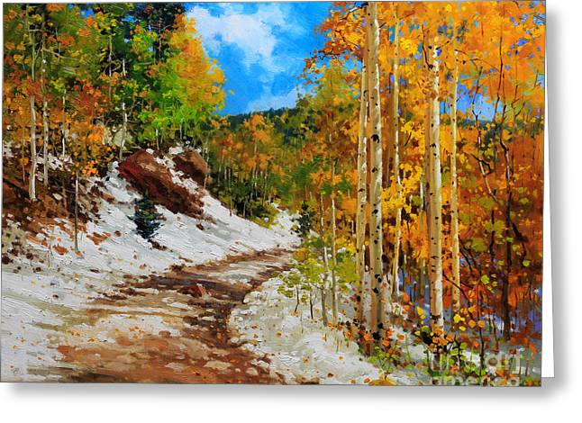 Fall Aspens Greeting Cards -  Golden aspen trees in snow Greeting Card by Gary Kim