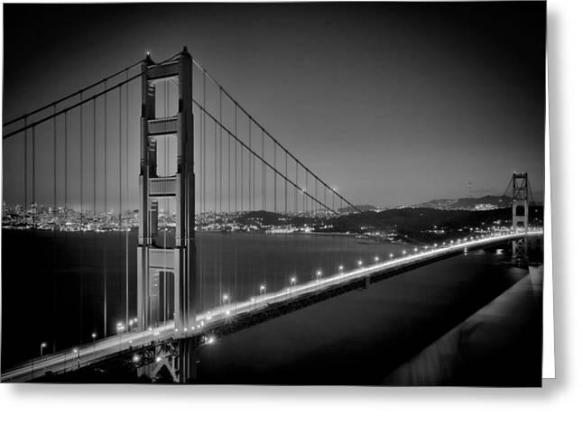 Golden Gate Bridge At Night Monochrome Greeting Card by Melanie Viola