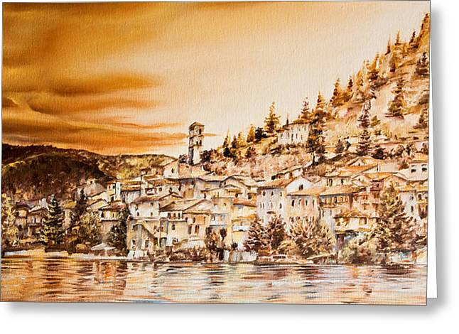 Golden Reflections Greeting Card by Michel Angelo Rossi