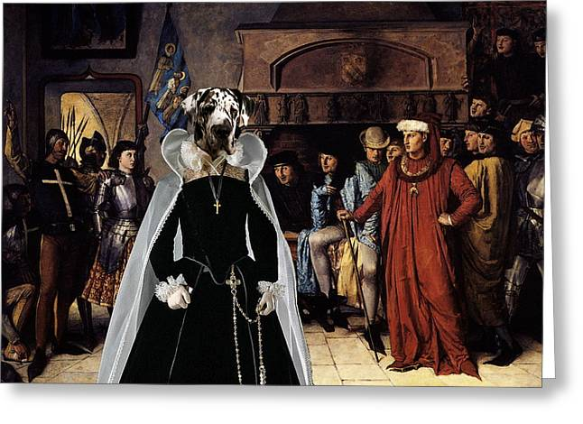 Great Dane Portrait Prints Greeting Cards -  Great Dane Art Canvas Print - The promenade in castle Greeting Card by Sandra Sij
