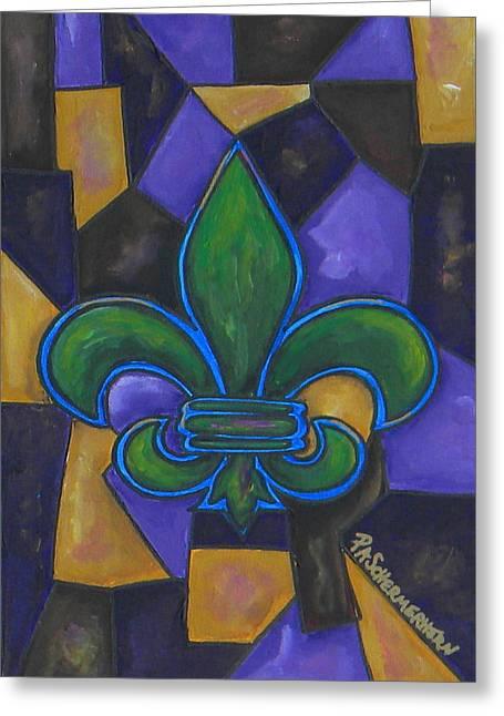 Green Fleur De Lis Greeting Card by Patti Schermerhorn