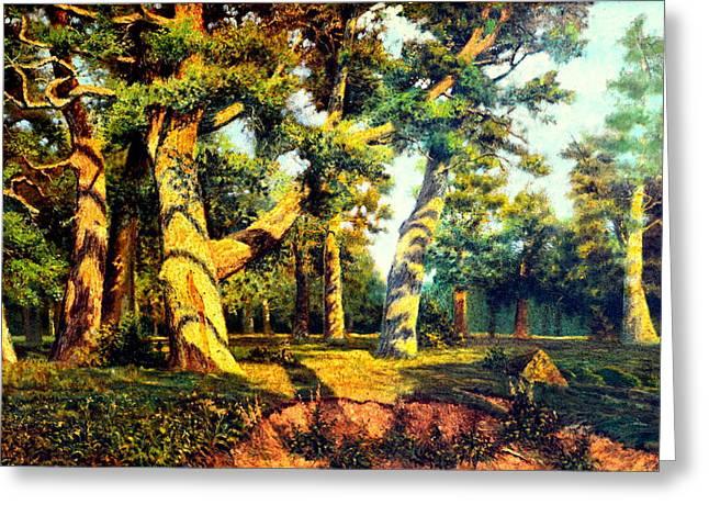Green Summer-the Oak Forest Greeting Card by Henryk Gorecki