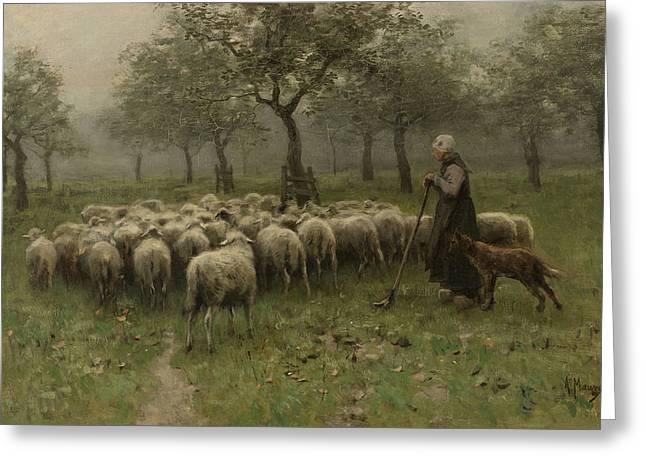 Dutch Shepherd Greeting Cards -  Herderin met kudde schapen / Shepherdess with a Flock of Sheep Greeting Card by Anton Mauve