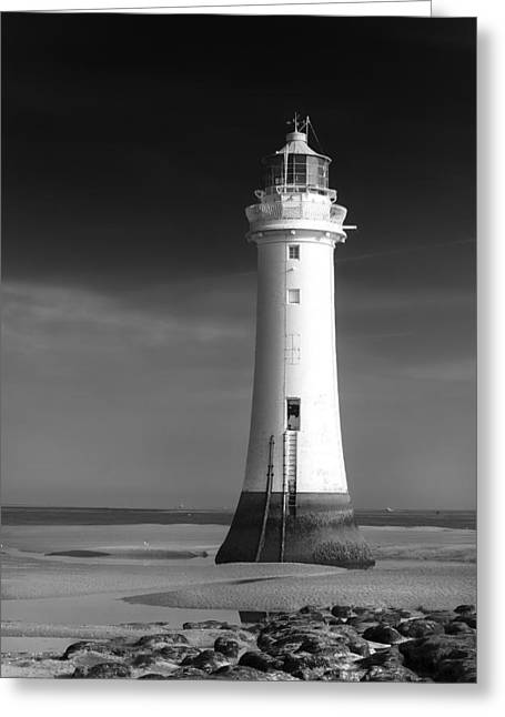 Black And White; High Seas; Danger; Greeting Cards -  High and Dry_ Perch rock Lighthouse Greeting Card by Rob Lester Wirral