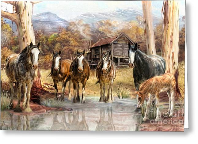 Mountain Cabin Mixed Media Greeting Cards -  High Country Hideaway Greeting Card by Trudi Simmonds