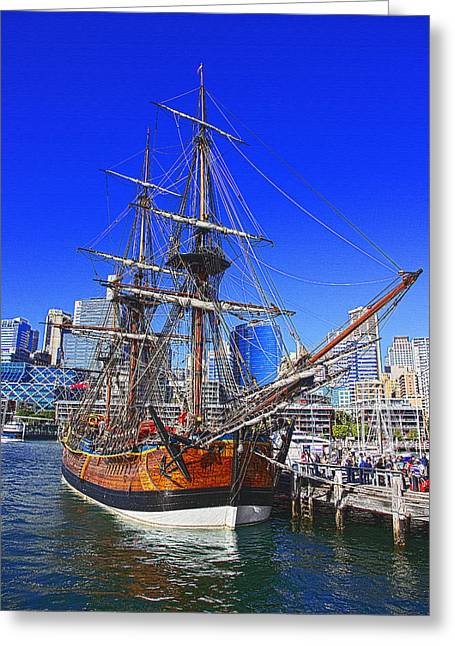 Tall Ships Greeting Cards -  HMB Endeavour In Darling Harbour Greeting Card by Miroslava Jurcik