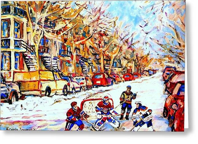 Goalie Paintings Greeting Cards -  Hockey Game On Colonial Street  Near Roy Montreal City Scene Greeting Card by Carole Spandau
