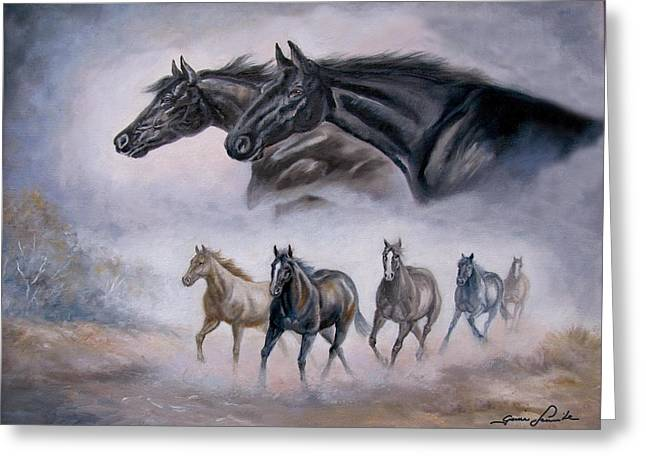 Horses Art Print Greeting Cards -  Horse Painting Distant Thunder Greeting Card by Gina Femrite