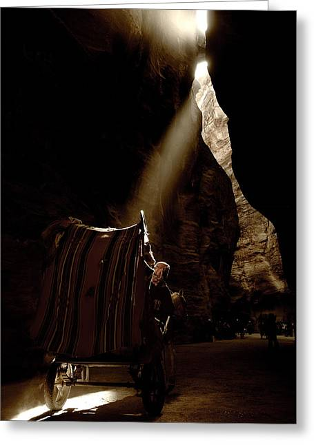 Petra Greeting Cards -  Horse wagon in the narrow passage Greeting Card by Arim Almuelle