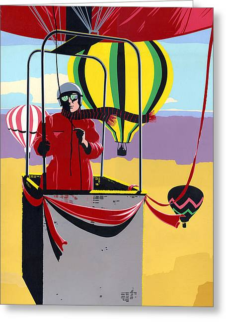 80s Greeting Cards -  Hot Air Ballooning - Abstract - Pop Art nouveau Retro landscape Greeting Card by Walt Curlee