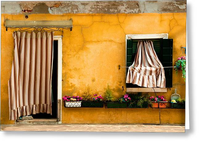 Photographic Print Box Greeting Cards -  House With Drapes Burano Venice Italy Greeting Card by Xavier Cardell
