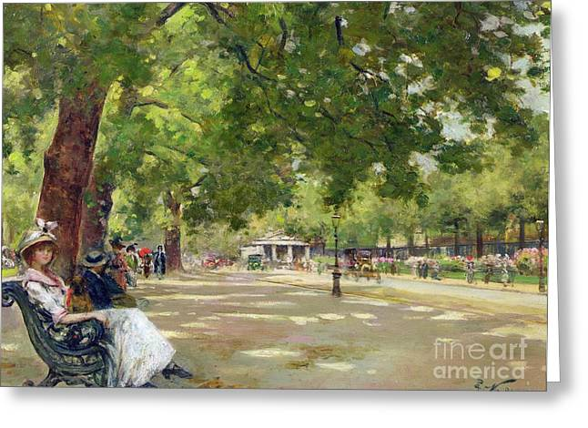 Oil Lamp Greeting Cards -  Hyde Park - London Greeting Card by Count Girolamo Pieri Nerli