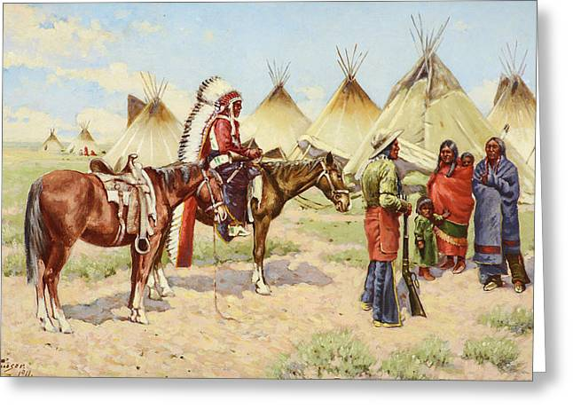 Canvas On Board Greeting Cards -  Indian Encampment Greeting Card by Celestial Images