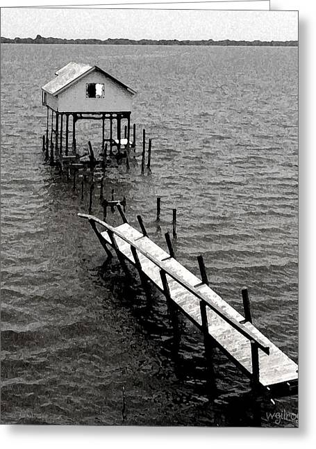 Surfing Art Mixed Media Greeting Cards -  Indian River Pier Greeting Card by W Gilroy