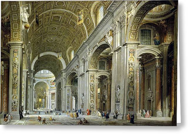 Interior View Of The Cathedral Of St. Peter's In Rome Greeting Card by Celestial Images