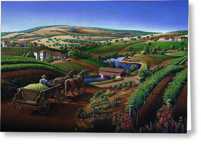 Sonoma County Vineyards. Greeting Cards -  iPhone - Galaxy Case - Old Wine Country Landscape Painting - Vintage Americana Greeting Card by Walt Curlee