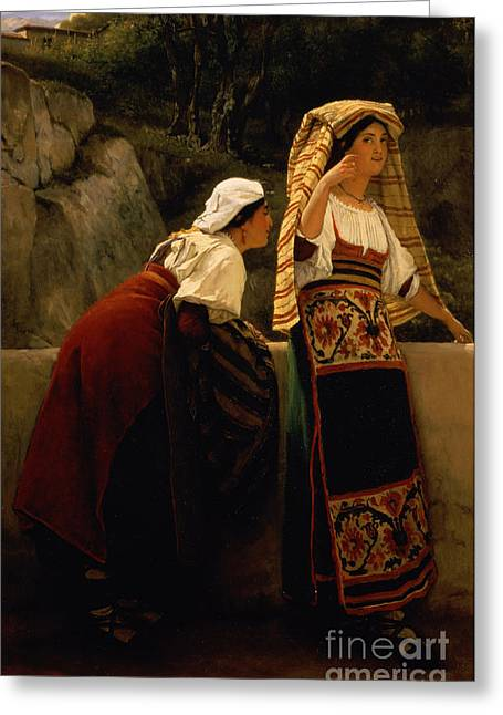 Beckon Greeting Cards -  Italian Women from Abruzzo  Greeting Card by Sir Lawrence Alma-Tadema