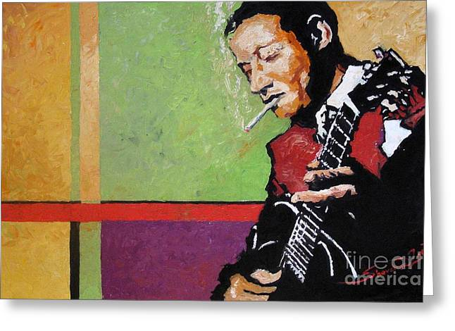 Jazz Guitarist Greeting Card by Yuriy  Shevchuk
