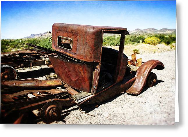 Rusted Cars Mixed Media Greeting Cards -  Junkyard Daddy Greeting Card by Beverly Guilliams