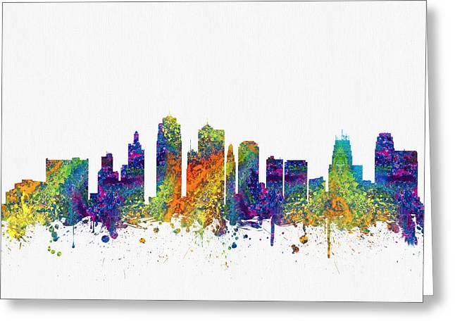 Kansas City Missouri Greeting Cards -  Kansas City Missouri Skyline color03 Greeting Card by Aged Pixel
