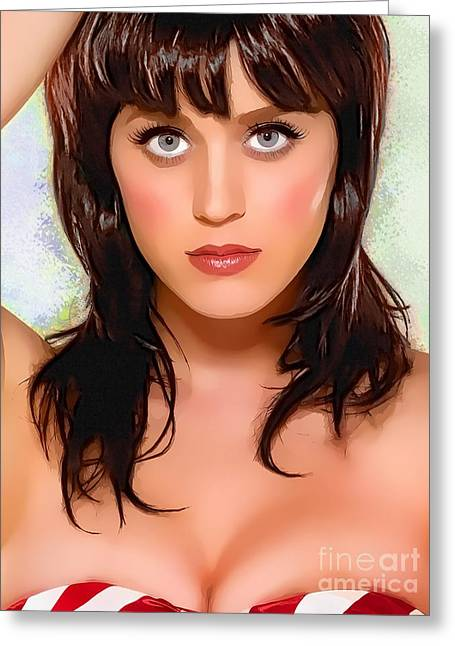 Award Greeting Cards -  Katy Perry Portrait A Greeting Card by Andre Drauflos