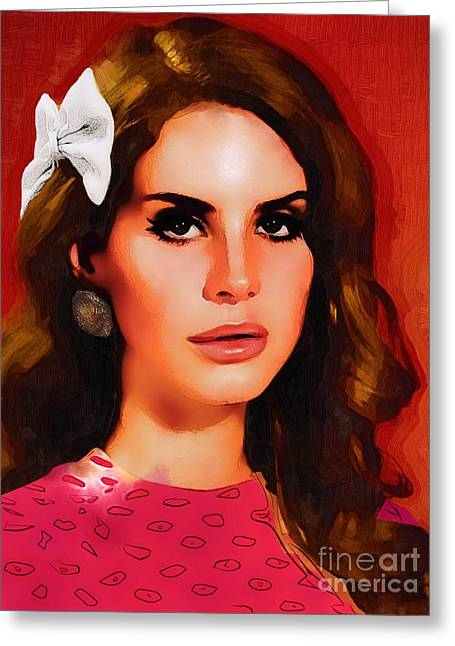 Lana Del Rey Portrait A Greeting Card by Andre Drauflos
