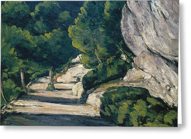 Mountain Road Greeting Cards -  Landscape Road with Trees in Rocky Mountains  Greeting Card by Paul Cezanne