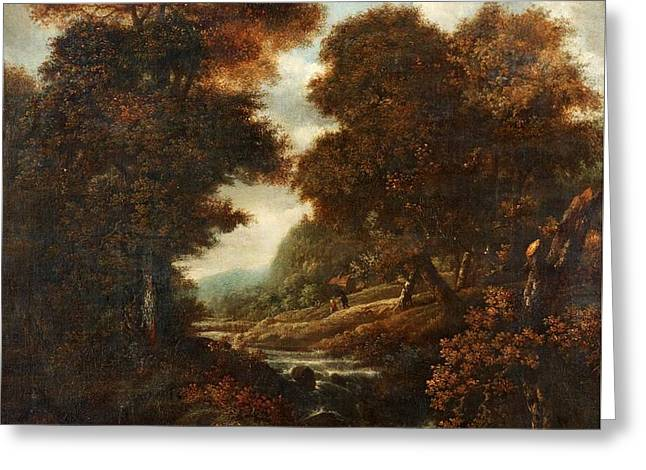 Landscape With Figures And Waterfall. Greeting Card by Jacob Van Ruisdae